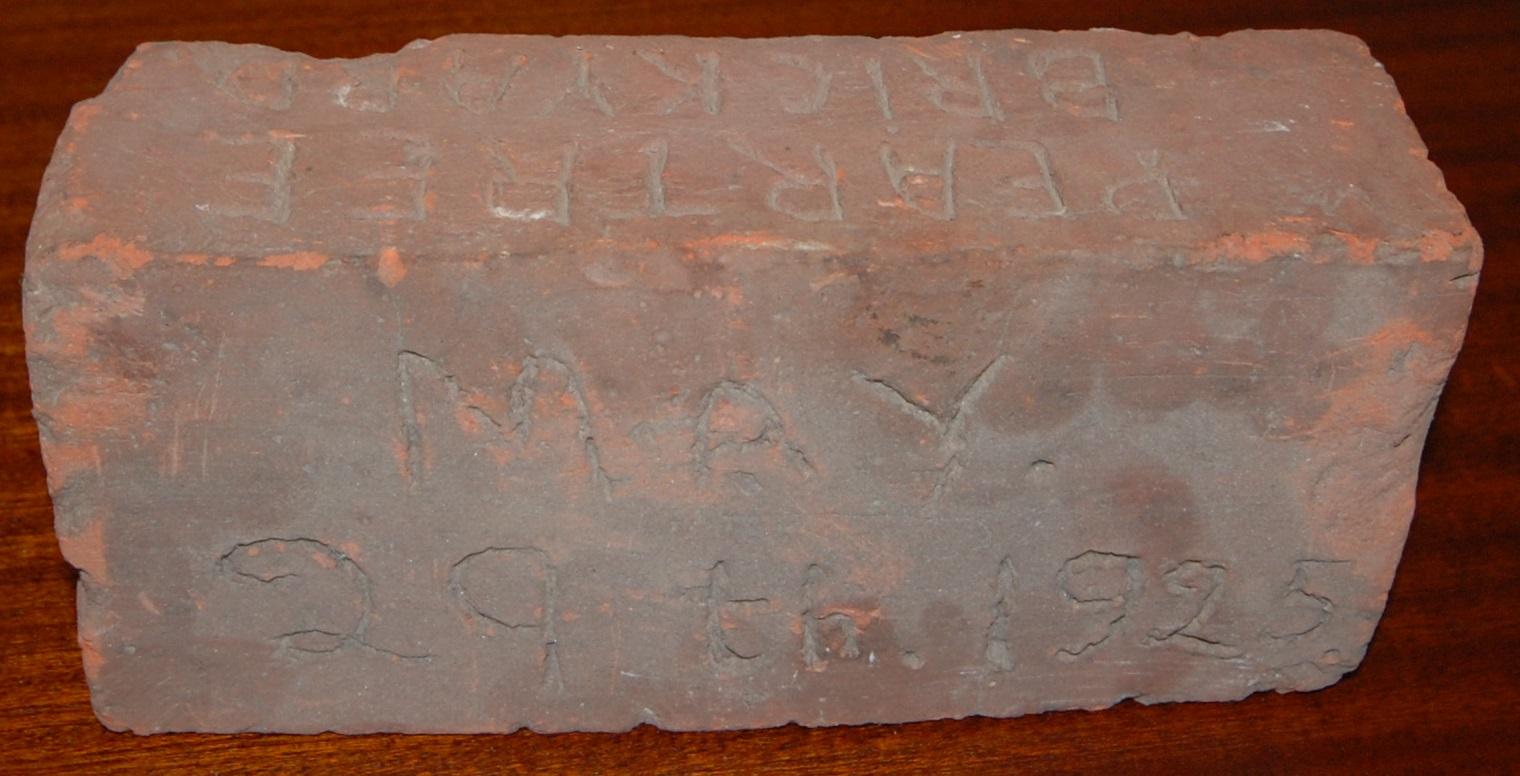 "brick made by bakers of danbury on their brackyard ""Peartree Farm"" in 1925"