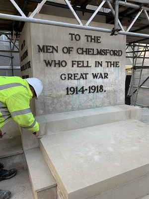 Chelmsford War Memorial restoration 2019 (Bakers of Danbury Ltd)