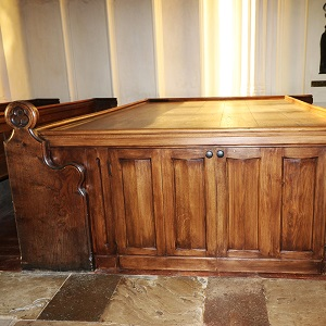 Church re-ordering - bespoke joinery, pew storage area