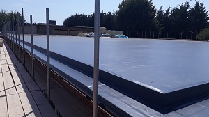 Sarnafill single ply roofing membrane for flat roof waterproofing