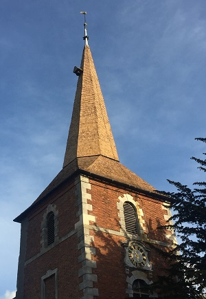 New oak shakes to church spire