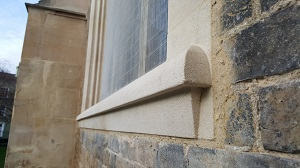 window surrounds to two cast iron tracery windows in Stoke Ground stone
