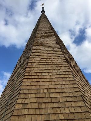 new oak shakes, church spire restoration