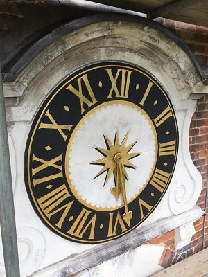 stone clock face restoration re-gilding decoration