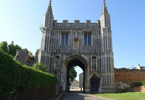 Repair to flint and stone masonry of a medieval wall at St John's Abbey Gate in Colchester