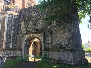 Emergency masonry repairs to church bell tower ruins